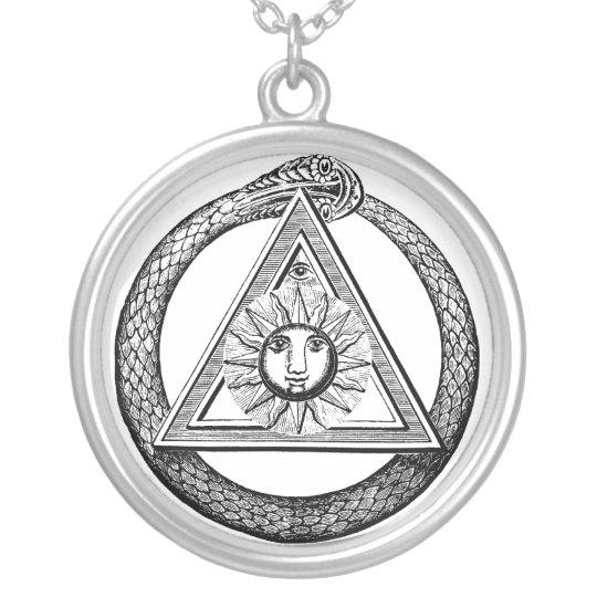 Keneph Masonic Symbols Snake and Eye Necklace