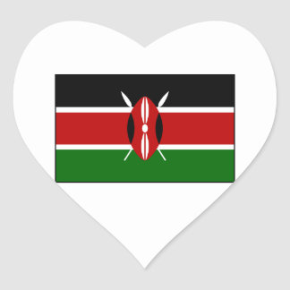 Kenia - bandera nacional del Kenyan Colcomanias Corazon Personalizadas