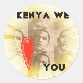 Kenia le amamos pegatina redonda