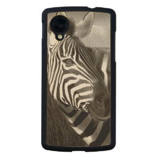Kenia Negro y blanco de la cebra y del llano Funda De Nexus 5 Carved® De Arce