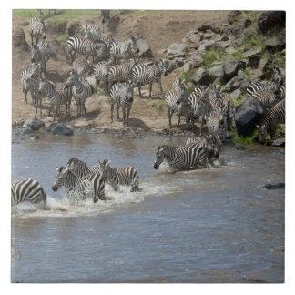 Kenia, ninguna agua ninguna expedición del río de  azulejo cuadrado grande