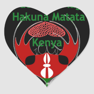 Kenia Raha Hakuna Matata.jpg Pegatina En Forma De Corazón