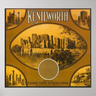 Kenilworth Orange LabelRiverside, CA Poster
