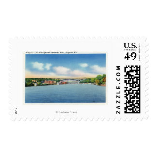Kennebec River View of the Augusta Toll Bridge Postage