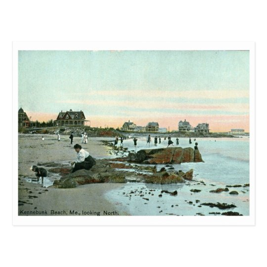 Kennebunk beach maine 1915 vintage postcard zazzle for What time is it in maine right now