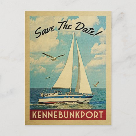 Kennebunkport Save The Date Sailboat Nautical Announcement Postcard