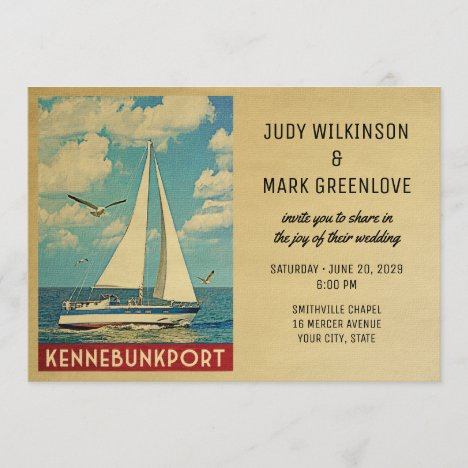 Kennebunkport Wedding Invitation Sailboat