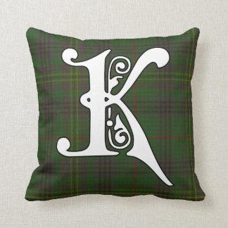 Kennedy Clan Tartan Monogram Throw Pillow