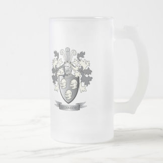 Kennedy Coat of Arms Frosted Glass Beer Mug