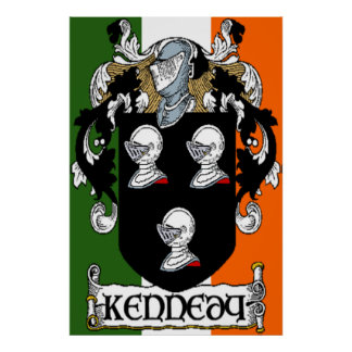 Kennedy Coat of Arms Irish Flag Print