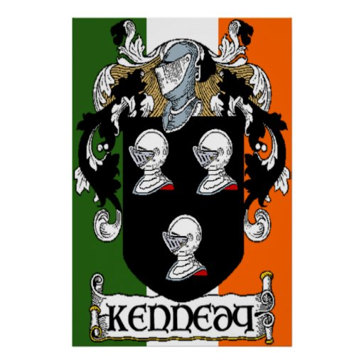 Kennedy Coat of Arms Irish Flag Print