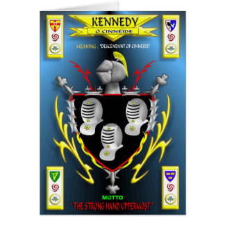 KENNEDY FAMILY COAT OF ARMS CREST AND SHIELD GREETING CARD