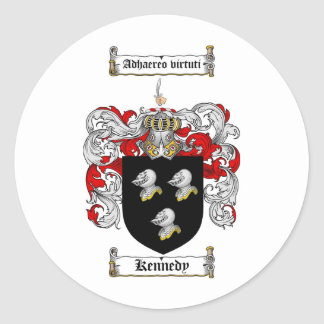 KENNEDY FAMILY CREST -  KENNEDY COAT OF ARMS CLASSIC ROUND STICKER