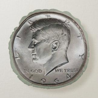 Kennedy Half Dollar Coin Round Pillow