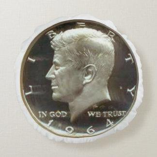 Kennedy Half Dollar Coin Round Pillow. Round Pillow