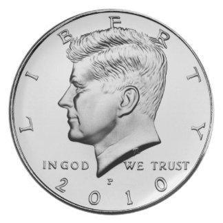 Kennedy Half Dollar Dinner Plate. Melamine Plate