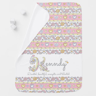 Kennedy K name meaning hearts flowers baby blanket