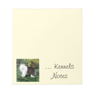 Kennels with Old English Sheepdog Art Notepad