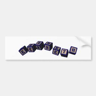 Kenneth Toy blocks in blue Car Bumper Sticker