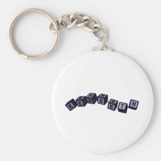 Kenneth Toy blocks in blue Basic Round Button Keychain