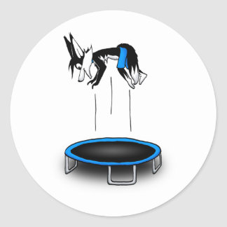 Kenny on trampoline classic round sticker
