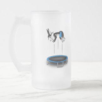 Kenny on trampoline frosted glass beer mug