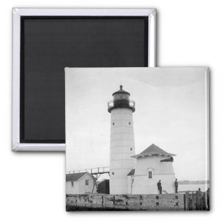 Kenosha North Pier Lighthouse 2 Inch Square Magnet