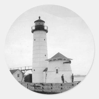 Kenosha North Pier Lighthouse Round Stickers