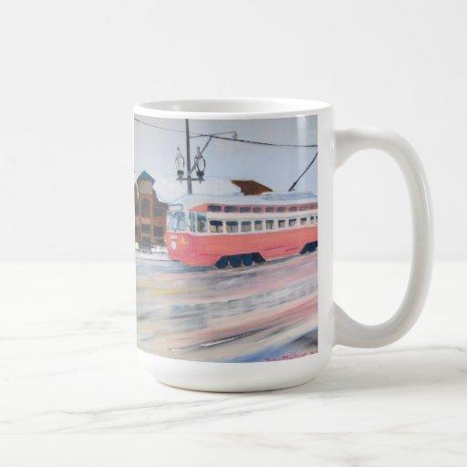 Kenosha Wisconsin Trolly in Winter Coffee Mug