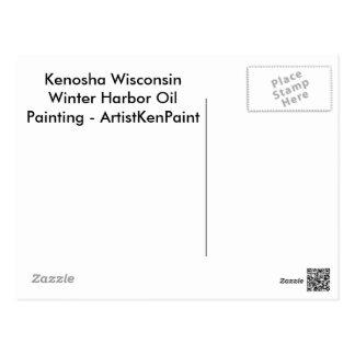 Kenosha Wisconsin Winter Harbor Oil Painting Postcard
