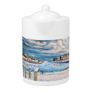 Kenosha Wisconsin Winter Harbor Teapot