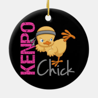 Kenpo Chick Double-Sided Ceramic Round Christmas Ornament