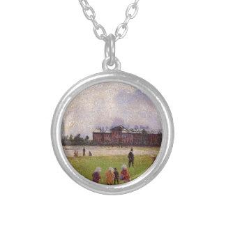 Kensington Gardens, London by Camille Pissarro Round Pendant Necklace