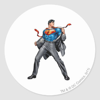 Kent changes into Superman Classic Round Sticker