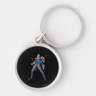 Kent changes into Superman Silver-Colored Round Keychain