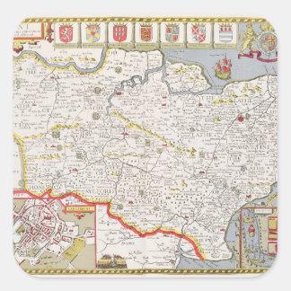 Kent, engraved by Jodocus Hondius Square Sticker