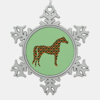 Kente Cloth Horse on Light Green Snowflake Pewter Christmas Ornament