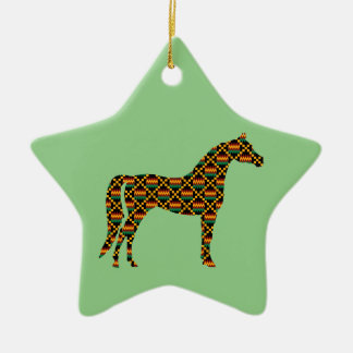 Kente Cloth Horses on Light Green Ceramic Ornament