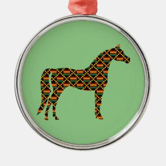 Kente Cloth Horses on Light Green Metal Ornament