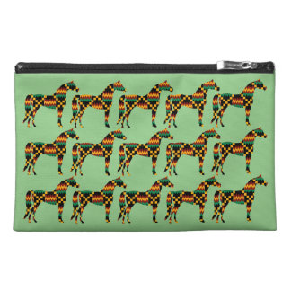 Kente Cloth Horses on Light Green Travel Accessory Bag