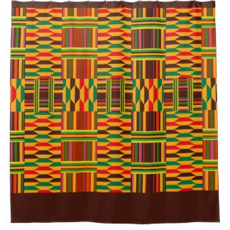 Kente colorido cortina de baño