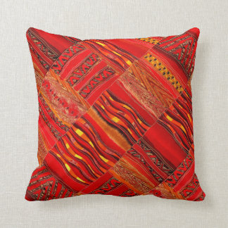 Kente in red on red throw pillow