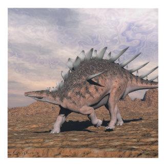Kentrosaurus dinosaur in the desert - 3D render Panel Wall Art