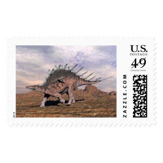 Kentrosaurus dinosaur in the desert - 3D render Postage