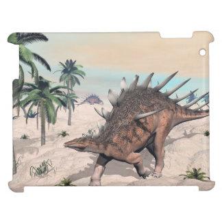 Kentrosaurus dinosaurs in the desert - 3D render iPad Case