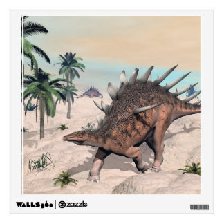 Kentrosaurus dinosaurs in the desert - 3D render Wall Decal