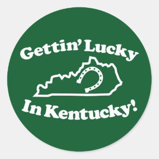 Kentucky afortunado etiqueta redonda