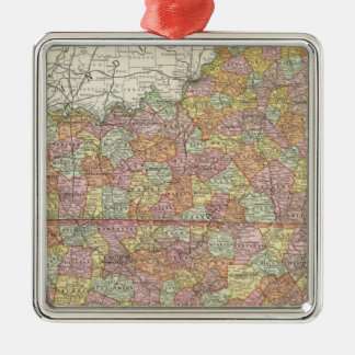 Kentucky and Tennessee 3 Square Metal Christmas Ornament