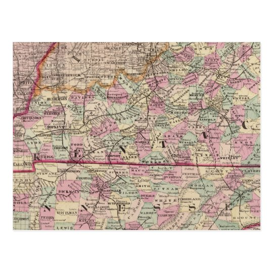Kentucky and Tennessee 4 Postcard