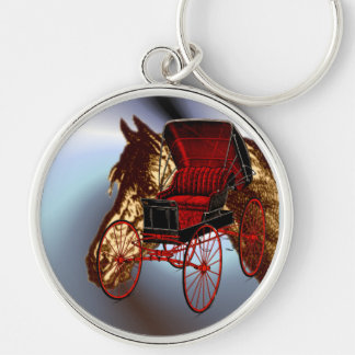 Kentucky Bluegrass Horse and Buggy Silver-Colored Round Keychain